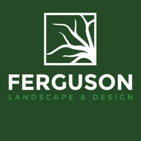 A green Ferguson Landscape & Design logo with a white tree icon.