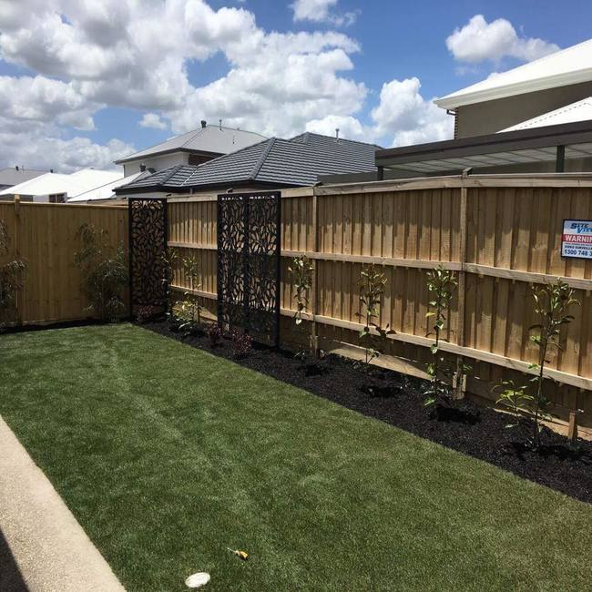 Natural turfing with a completed, landscaped garden in Melbourne.