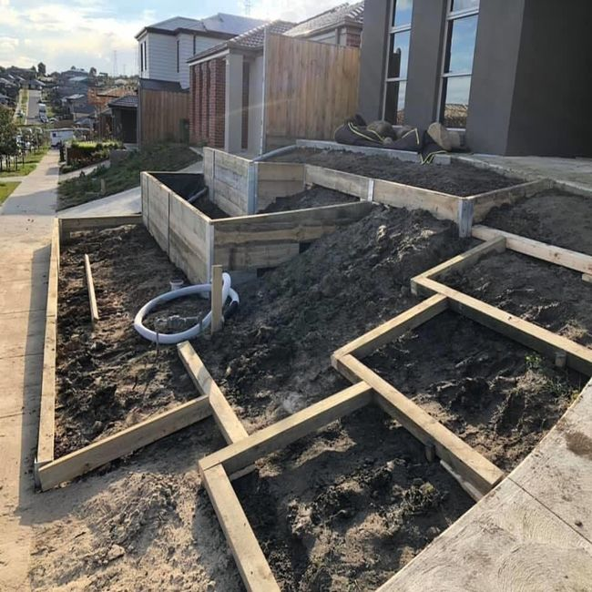 A timber retaining wall construction before it's been built, at a home in Melbourne.