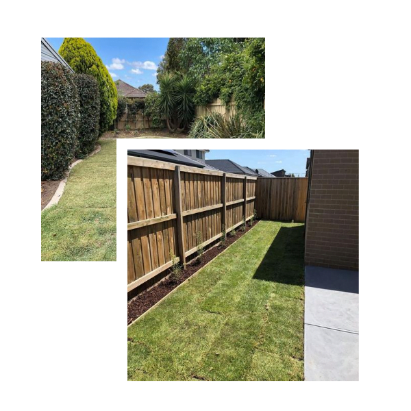 Two images; the back image of a Melbourne backyard with trees and shrubs, the front photo is a backyard with natural turf.