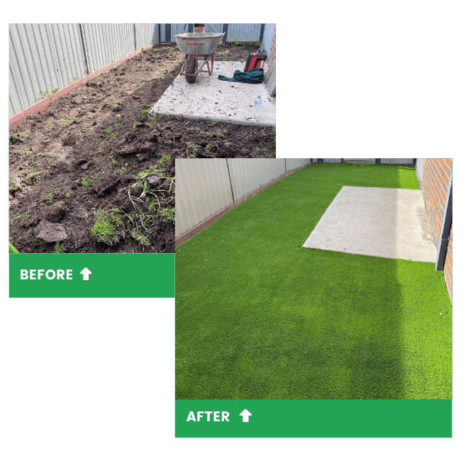 A before and after photo of a turfing job done at a home in Clyde.