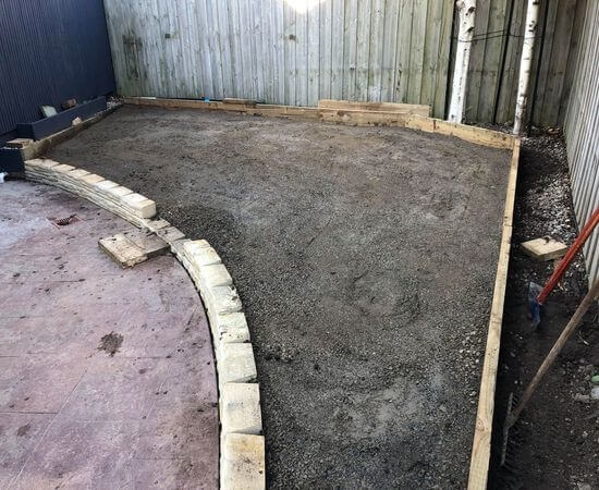 A midway job of a turfing job in Narre Warren South, half completed with a sub-base.