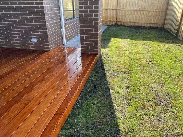 A merbau timber decking in a local backyard.