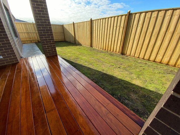 A Merbau timber decking from a south east Melbourne backyard.