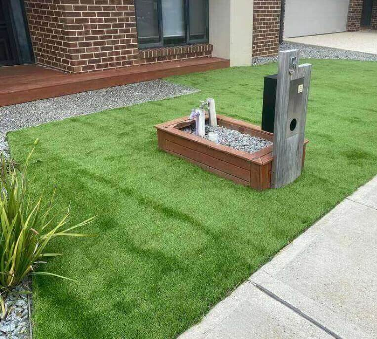 Turf laid on the front lawn of a Melbourne home.