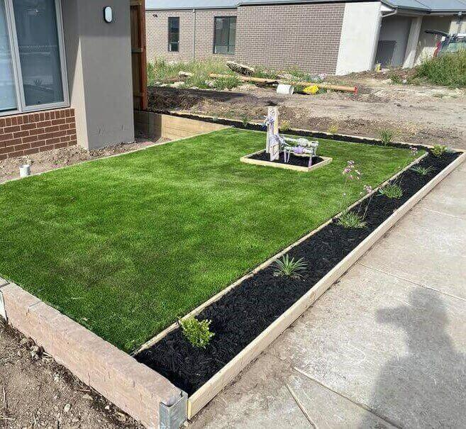 Natural turf installed on a Melbourne home's front lawn.