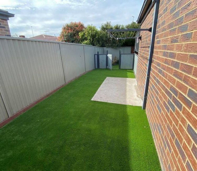 A wide shot of artificial turfing done at a property in Clyde.