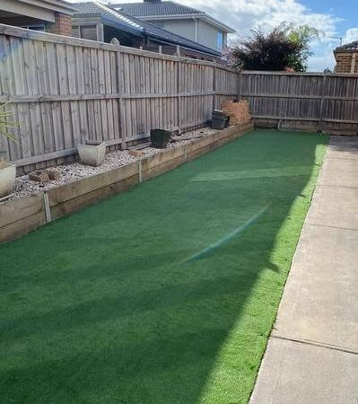 Lawn turf installed in a backyard.