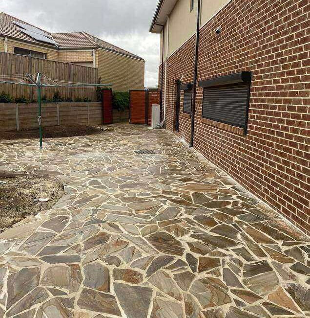 Rio Crazy Gold pavers laid down in a Melbourne home, located in Officer.